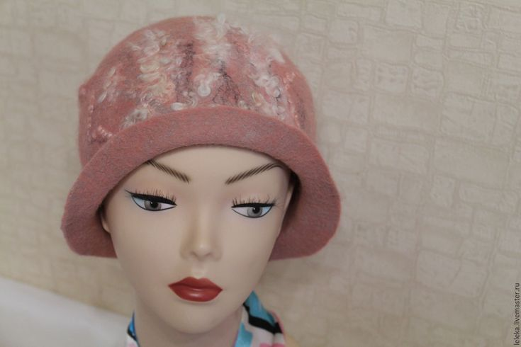 Купить шапка-шляпка из шерсти - кремовый, абстрактный, шляпка женская, шляпка с полями, женская шапка