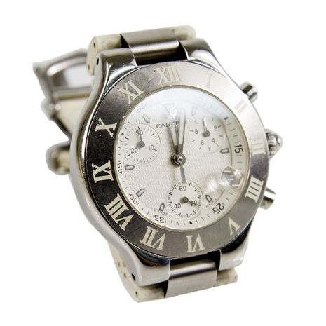 Cartier 38mm W10184U2 Must 21 Chronoscaph Stainless Steel & White Rubber Chrono