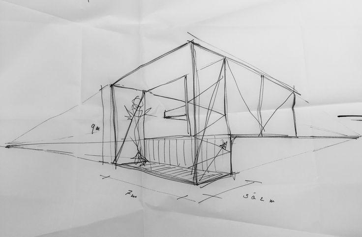 Kunstenaar atelier/woning schets proces