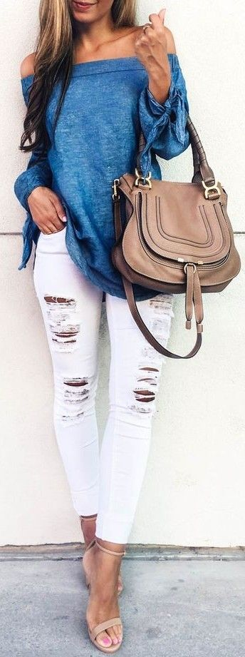 Blue Off The Shoulder Top   White Ripped Denim                                                                             Source