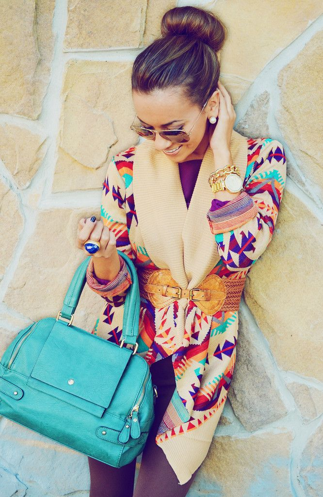 Colorful Southwestern inspired sweater with a turquoise bag