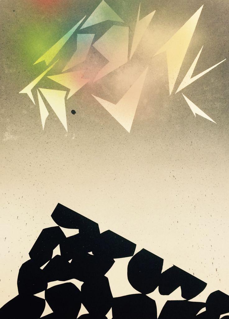 Manuel Bisson, Sans Titre, 2015, bombe aérosol sur papier, 76 x 55 cm