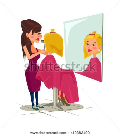 Hairdresser with client. Vector flat cartoon illustration