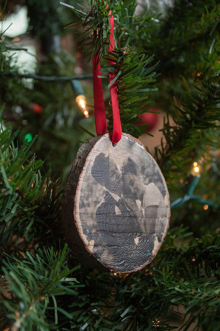 DIY wood photo transfer ornaments