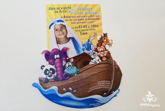 Convite tema Arca de Noé com foto personalizada!    Acabamentos: Papel 180gr., recorte especial com dobra e aplicação de imã.    ***PEDIDO MÍNIMO: 30 UNIDADES R$ 3,20