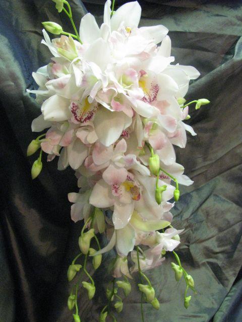Cascading orchid bridal bouquet by Lotus Petals floral design
