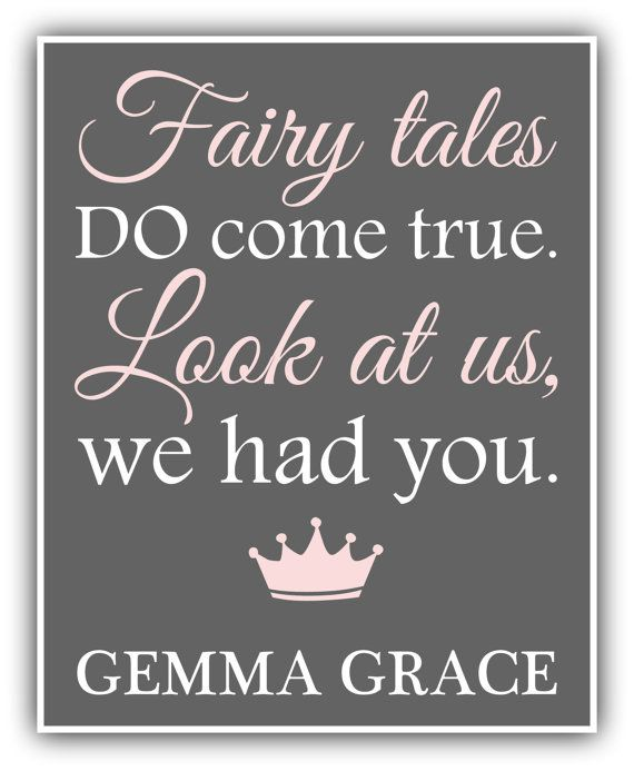 FAIRY TALES do come true CUSTOM print girl print baby decor playroom art - nursery decor-  baby shower