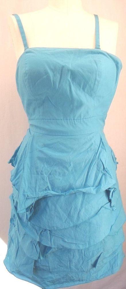 Antonio Melani Women S Size 2 Blue Sleeveless 52 Silk Cotton Mini
