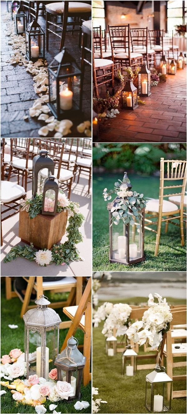 rustic lantern wedding aisle decor ideas / http://www.deerpearlflowers.com/lanterns-wedding-aisle-decor-ideas/