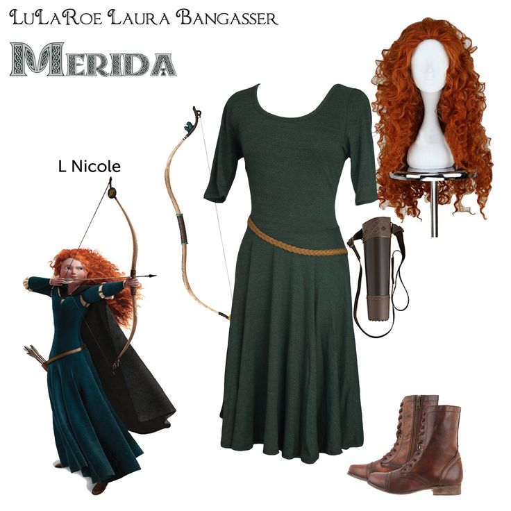 """LuLaRoe DisneyBounding Merida"" Brave inspired Halloween costume by LuLaRoeLauraBangasser. All non LuLaRoe accessories were found on Amazon."