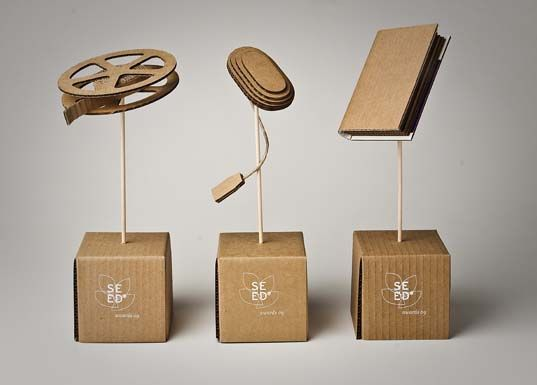 SEED Awards Recycled From Submission Shipping Materials Trophy DesignCardboard
