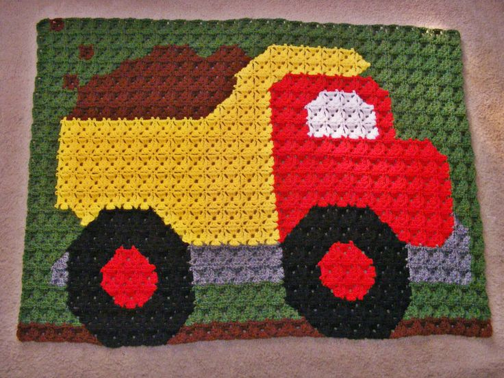 Crocheted Dump Truck Baby Afghan 532 Small Granny Squares