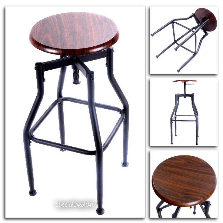 Industrial Swivel Bar Stool Wood Metal Chair Adjustable Vintage Black Modern Pub #SD4U #IndustrialVintageModernContemporary