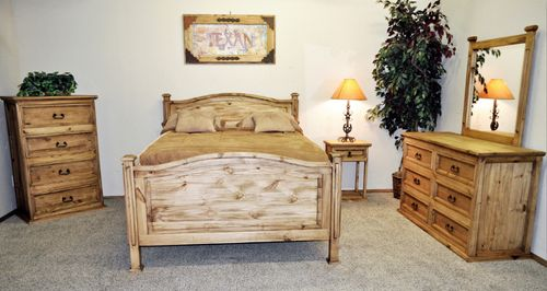 4 PC Rustic Budget Natural Wax Full Size Bedroom Set