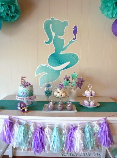 Chloe's Mermaid Party | That Cute Little Cake Mermaid Dessert Table