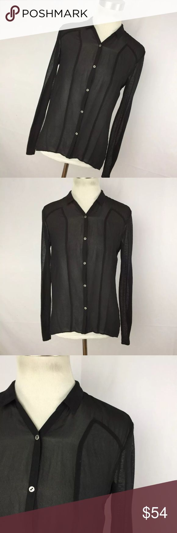 "Helmut Lang P Petite Shirt Top Black Sheer Stretch This is a great sheer button down shirt with long sleeves. Silk stretch blend. Chest measurement  - 34"" Length measurement - 29"" Sleeve Length measurement - 22"". Excellent condition. Smoke free home Helmut Lang Tops Button Down Shirts"