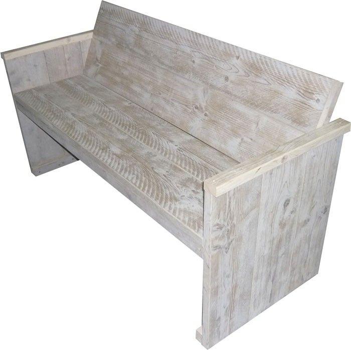 Tuinbankje white wash steigerhout, gratis bouwtekeningen.