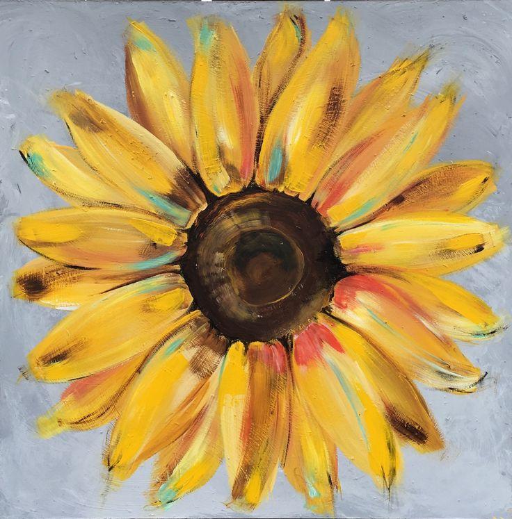 Sunflower Painting on a Wood Panel Original Flower Art