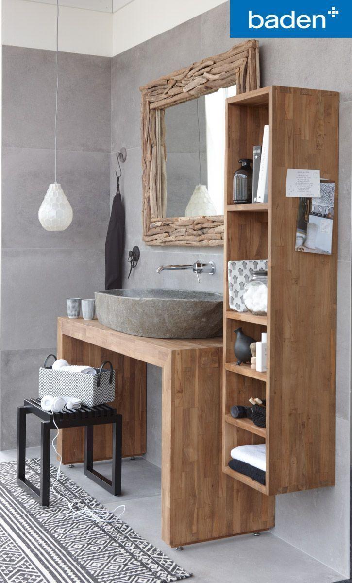Ein Badmobel Aus Echtem Teakholz Es Gibt Die Badmobel De Ech Badezimmer Rustikal Kleine Badezimmer Wohnung
