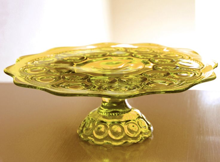 Glass Cake Stand in Golden Yellow Amber / Vintage Cake Stand Vintage Cake Plate Cake Pedestal / Cupcake Stand / Moon & Stars by RocheStudioVintage on Etsy https://www.etsy.com/listing/163710902/glass-cake-stand-in-golden-yellow-amber