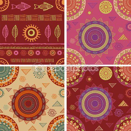 Bohém, törzsi, etnikai varrat nélküli minták és hátterek — Stock Vektor © marish #68503891