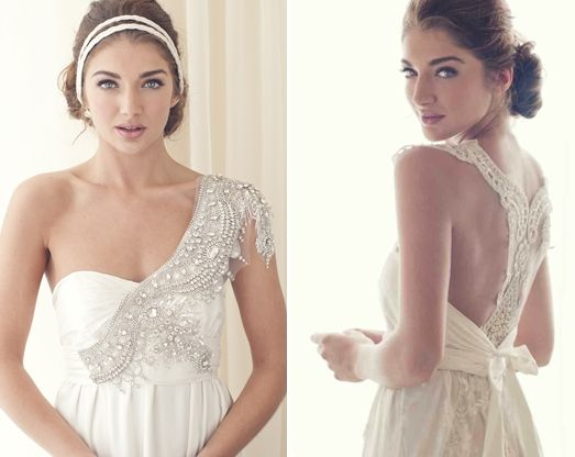 Gorgeous Anna Campbell wedding gown!!    empire waiste, glamorous , halter, lace, one shoulder, romantic , silver, sparkly, wedding dresses, white, elegant, attire, boho, bridal, bride, dream, dress, dresses, gorgeous, gown, gowns, hair, vestidos, hippie, wedding