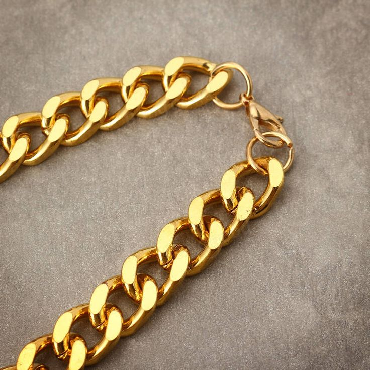 18K Gold Plated 10mm Men Chain 24inch Necklace Jewelry at Banggood