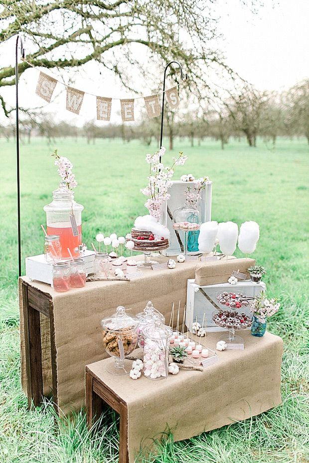 pink and rustic styled candy and cake display  | www.onefabday.com