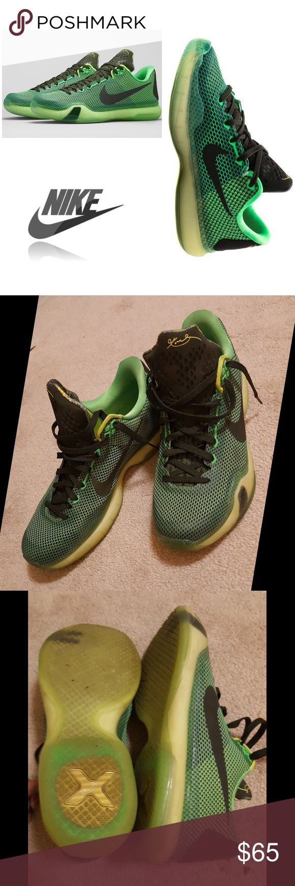 NIKE Kobe 10 shoe  - green volt Basketball Nike shoes in good condition. Only worn indoors and plenty of life left.  Color: green volt Size: 11.5 men's Nike Shoes Athletic Shoes