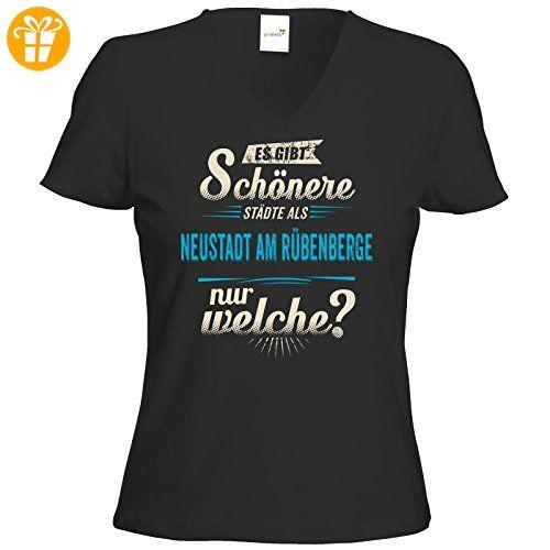 getshirts - RAHMENLOS® Geschenke - T-Shirt Damen V-Neck - Heimat Stadt - Neustadt am Rübenberge - blau - schwarz XXL (*Partner-Link)