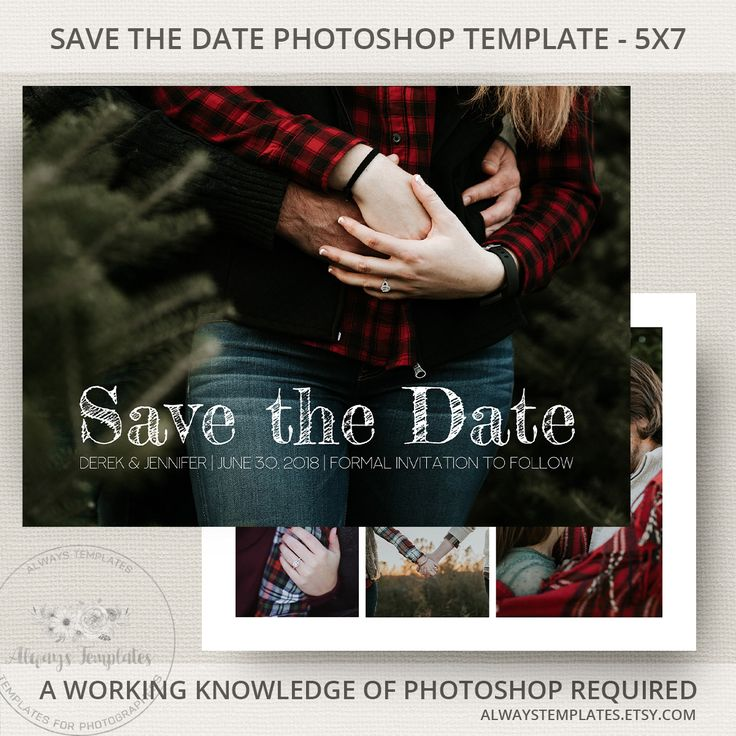 Modern save the date printable template on Etsy by Always Templates - #savethedate #template #photoshop #weddingplanning #weddinginvitations #engagementphoto