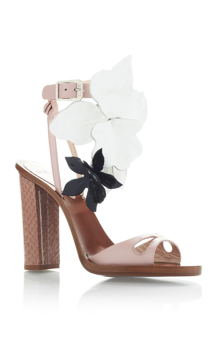 Blush Pink High Heel Sandals With Black And White Flowers by No. 21 for Preorder on Moda Operandi