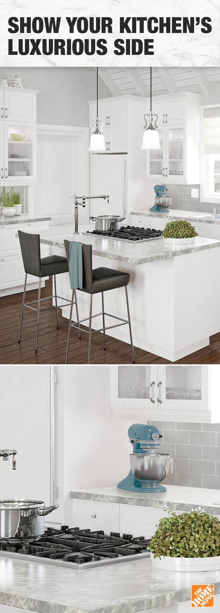 An all-white finish and added bursts of colour give a polished look to any kitchen.