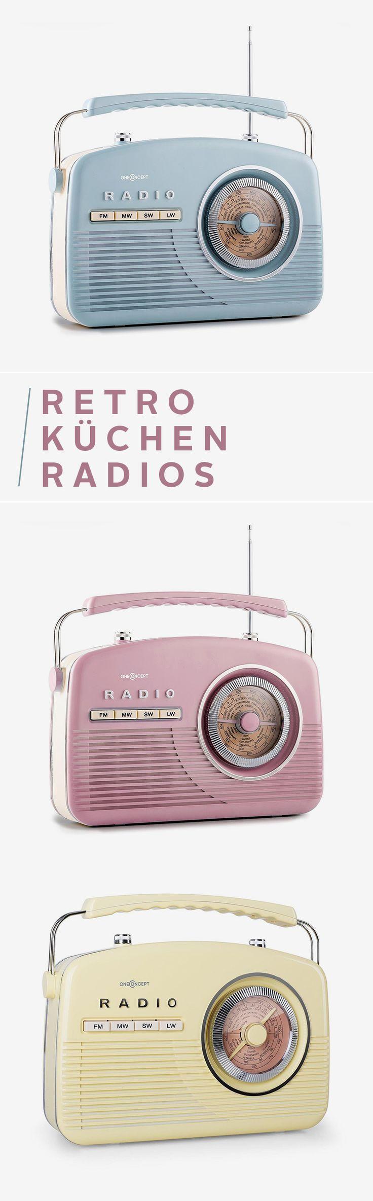 Ob aus dem wunderschönen UKW-Radio im 50's-Design nun Elvis Presley oder moderne Hits kommen, bleibt ganz dir überlassen. Aber mit dem coolen Retro-Look und vielen frischen Farben bringst du ein echtes Highlight in deine vier Wände – zum Beispiel in die Küche oder das Bad.