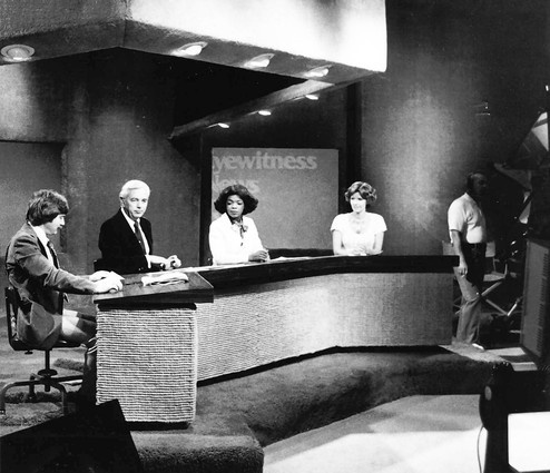 Oprah Winfrey joined the WJZ-TV news team in Baltimore, Maryland early in her television career. Here she is seen on the set in 1976 with, left to right, weather forecaster Bob Turk, anchor Jerry Turner and sports reporter Andrea Kirby.