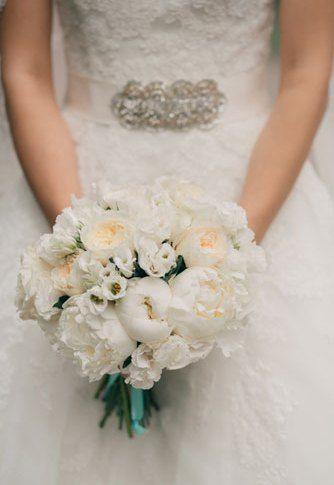 букет невесты белый + цвет Тиффани / white  Tiffany blue