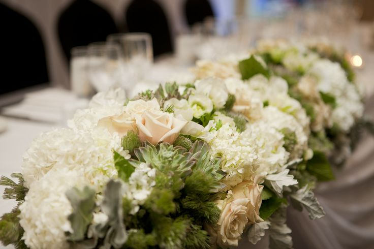 Bridal table floral hedge. Styled by Greenstone Events.