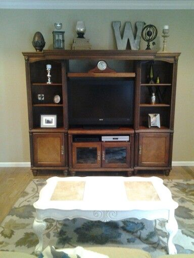 Entertainment center decor for the home pinterest for Decorating entertainment center ideas