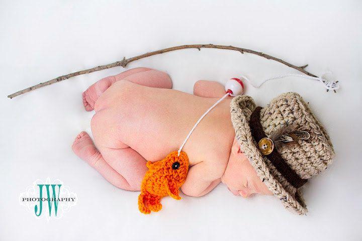 Baby boy fishing hat fish set newborn 0 3m 6m crochet for Toddler fishing hat