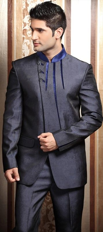 13299, IndoWestern Dress, Imported, Lace, Black and Grey Color Family; $224; I don't know if this would be appropriate for a wedding but I think he would look good in it and it would be his sort of style. :)