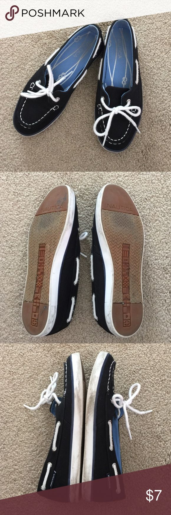 Used Náutica black boat shoes size 5 Used shoes with plenty of life left. I do custom bundles just ask. Making room in my closet so really trying to get rid of everything ASAP. Trying to pay my student loans so no trading right now. I'm willing to consider all offers. The more you buy the more I can discount. Nautica Shoes Flats & Loafers