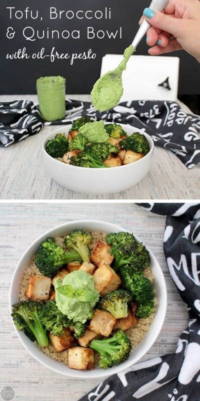 Simple Tofu Broccoli Bowl is a healthy meal that you can make in the oven or in the air fryer. Serve over quinoa with a pesto drizzle for an easy supper in less than an hour!