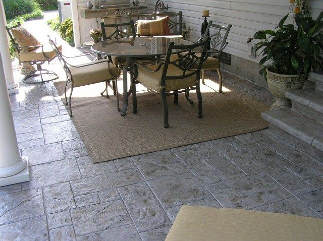 Stamped Concrete Patio, Gray Stamped Concrete, Gray Concrete Patio Concrete  Patios Ramseyu0027s Concrete Service