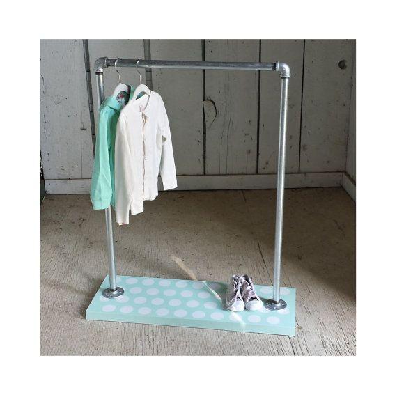 mint polka dot dress up rack children 39 s clothing rack by mavindustrial4kids sweet ideas. Black Bedroom Furniture Sets. Home Design Ideas