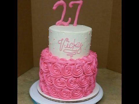 2 Tier Rosette Birthday Cake. Cake Decorating. - YouTube