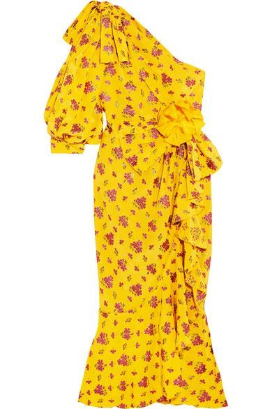 Gucci - One-shoulder Metallic Silk-blend Jacquard Midi Dress - Yellow - IT40