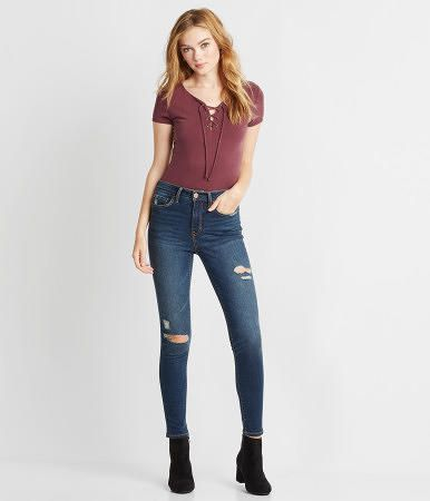 Seriously Stretchy Dark Wash High-Waisted Ankle Jegging - Aeropostale