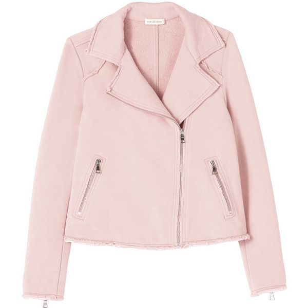 Cozy Knit Moto Jacket ($139) ❤ liked on Polyvore featuring outerwear, jackets, slim fit biker jacket, motorcycle jackets, biker jacket, rider jacket and pink biker jacket