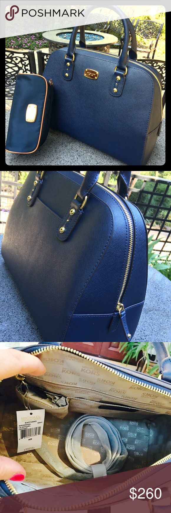 """💙Navy Blue MK purse ONLY💙 Michael KORS GORGEOUS Navy Blue satchel. Brand New with tags still on☺️👍 has light gold fixtures and ONE large open compartment. Comes with shoulder strap. Retail is $398 i'm selling for $260 or closest offer🎉🎈😘❤️☺️👍 please go through """"offer"""" button. Michael Kors Bags Satchels"""