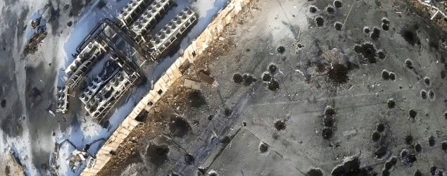 A drone image of shell craters at Sergey Prokofiev International Airport, in Donetsk, eastern Ukraine (Army.SOS/Handout/Reuters) Fighting edges closer to Ukraine rebels' base Ukraine's military says it has retaken territory near the heart of the pro-Russian separatist movement. Battle over Donetsk airport